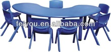 School using moon shape table kids LLDPE plastic desk and chair, kindergarten furniture