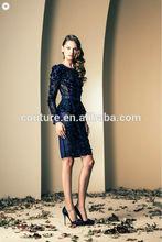 2014 ZIAD NAKAD latest chiffon party dress with long sleeves SS091 evening dress short