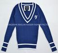 cuello v azul de raya vertical de los hombres suéter suéter suéter