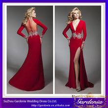 High Quality Brand Name Sexy Red Sheath V Neck Long Sleeve Evening Dress With Sheer Zipper Back Long Chiffon Skirt (AB0213)