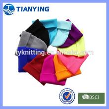 blank plain colors cheap knitted cuff beanie hats