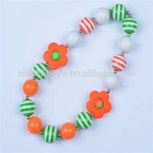 2014 Sprine style fashion jewelry chunky bead necklace orange spring flowers custom jewelry