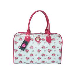 HQB004 Flower pattern PU handbag/Family weekend travel bag in Guangzhou manufacturer