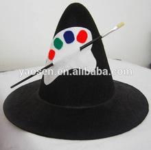 Black felt hillbilly hat with cutomized logo