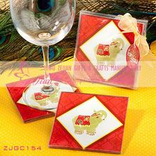 """""""Elephant Design"""" Glass Coaster Set Favors"""