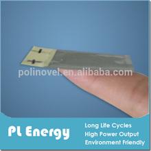 light thin 0.4mm 3.7V 12mAh polymer li-ion battery like paper