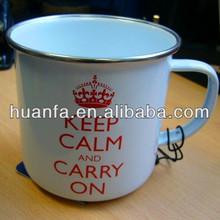 Enamel mug with decal roll rim enamel mug stainless rim enamel mug