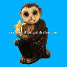 Vintage ceramic monkey statue , porcelain monkey