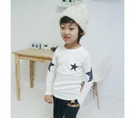 Spring 2015 Boys T Shirt Five Star Long Sleeve Children T Shirts Blue And White Cotton Kids t Shirts For Boys BT40318-6