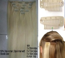 POPULAR clip in hair extensions #613 light blonde