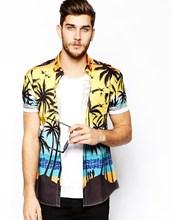 Shirt With Palm Tree Print/cotton fabric mens dress shirts/t shirt men short sleeve fashion model-sc252