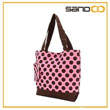 2014 China fashion stylish lady tote canvas handbag with polka dots