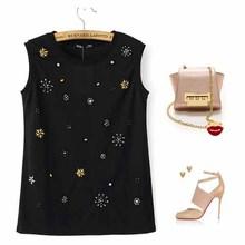NEW1001 luxury diamond beaded ladies t-shirts fashion sexy sleeveless woman t-shirt
