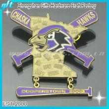2014 Customized metal Dangler pin,baseball dangle lapel pin, enamel bat dangle lapel pin badge