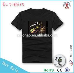 1000designs DJ dance light up and down el shirt/ custom el equalizer panel /music activated led t shirt