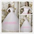de alta calidad hecha de alibaba en china diseñador baratos al por mayor blanco bola vestido de princesa de manga larga musulmana vestido de boda nupcial