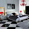 Estilo europeu quarto sets mobília cama de couro genuíno