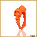 de color naranja del cráneo de moda punk gays anillos anillos de compromiso