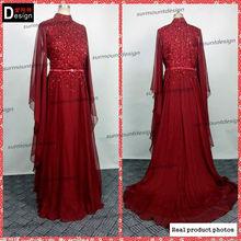 elegant high collar mermaid muslim women long evening dress chiffon