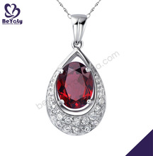 elegant custom water drop shaped pendant with ruby inlay