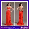 New Arrival Charming Floor Length Sheath Beaded Belt Backless Chiffon Orange Red Bridesmaid Dresses (ZX306)