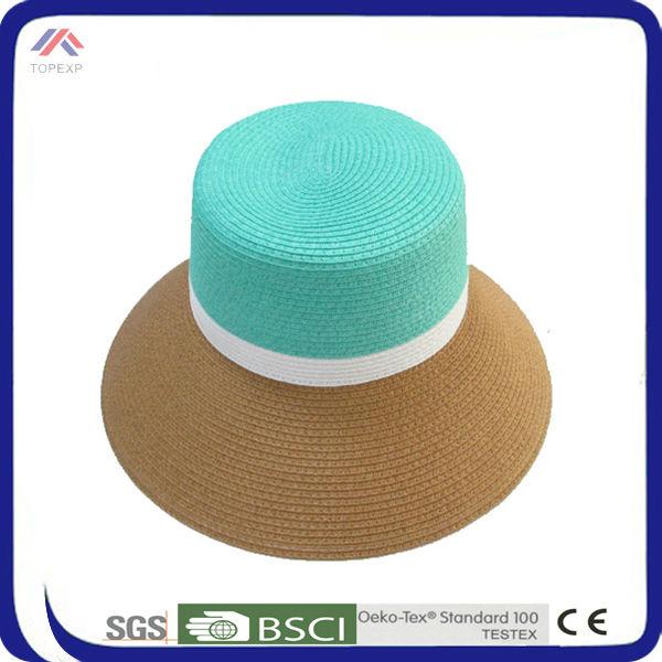 ผู้หญิงสไตล์ใหม่ธรรมชาติฟางหมวกร่มที่มีสีสัน