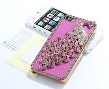 Bling pu leather Peacock Diamond side Case for iPhone 4/4s/5
