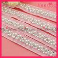 Prendas de vestir moda decoración del cordón de perlas y diamantes de imitación de WTP-1184