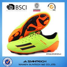 2014 Latest rubber sole fl orange upper unisex soccer shoes