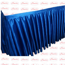 Polyester satin plain visa suede table skirts wedding banquet table skirts stage skirts