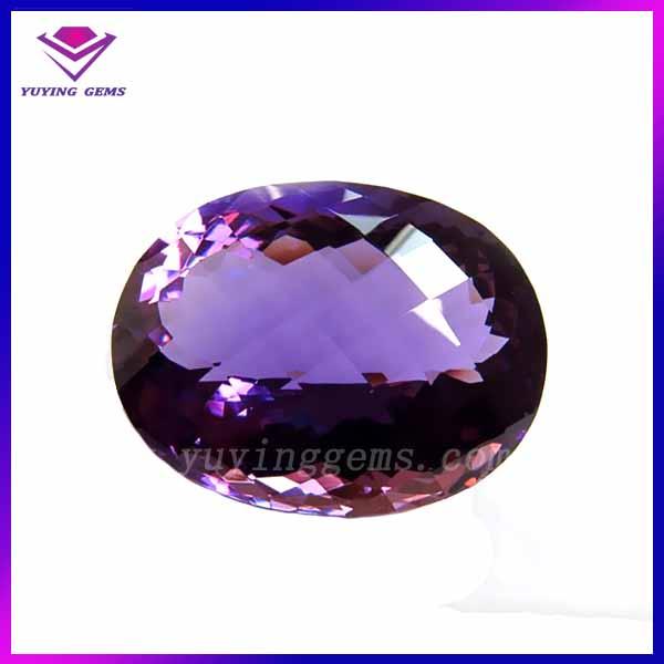 Alta qualidade Oval violeta sintéticos cz pedra para artesanato