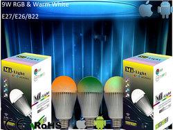 E27 6W RGB LED Light Bulb - Remote Control, Wi-Fi Control Kit, Support iOS + Android