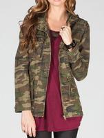 4 flap pocket stud women camo jacket 2014