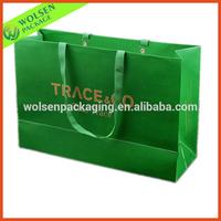 Green color Kraft paper bag large paper shopping bags