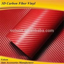 air bubble free quality 1.52*30m size auto carbon fiber car wrap vinyl film 3D carbon fiber,red car color changing vinyl film