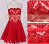 Red Cheap Chiffon Lace Evening Dresses 2013