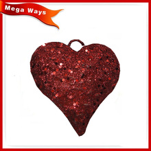 Christmas hanging decoration red flat metal heart