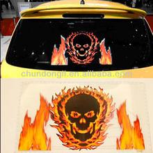 High quality skull fire up 45*30cm light el car sticker