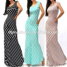 lastest sleeveless ladies striped skinny long maxi dress