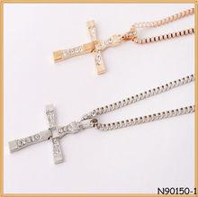 Professional fashion gold plated horseshoe nail cross necklace