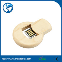 Creative Gift High Quality 8GB Natural Wood Bamboo usb, swivel round coin 2.0 bamboo usb