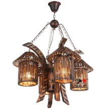 Vintage deocorative rattan special art large pendant lamps for hotel
