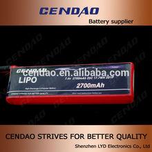 CENDAO 25C 7.4V 2700 mah 2S1P 7.4v rc helicopter battery lipo battery