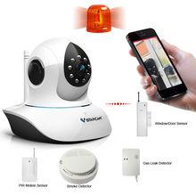 With PIR,Smoke/Gas Leak Detector Window/Door Alarm T7838WIP-AR wifi home alarm system All in One IP Network Camera