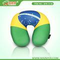 Bandera de brasil microbeans cuello almohada, 2014 copa del mundo de regalo de la promoción almohada de viaje