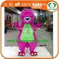 Hola mejor calidad dinosaurio barney de vestuario, traje de la mascota, traje de la película