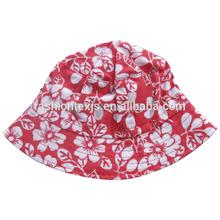 high quality bucket cap fashion girl printed cotton sun beach cap