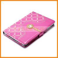 With Flexible Holder Diamante Portable Flip Case For iPad Mini Leather Case