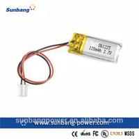Sunb061225 3.6v rechargeable lithium polymer battery 110mah 3.7v 110mah battery
