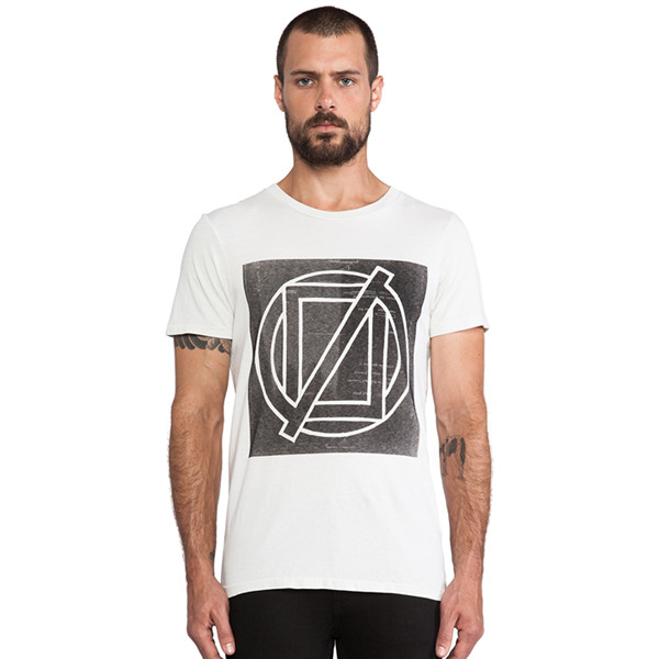 Square printing 100% cotton round neck t-shirt